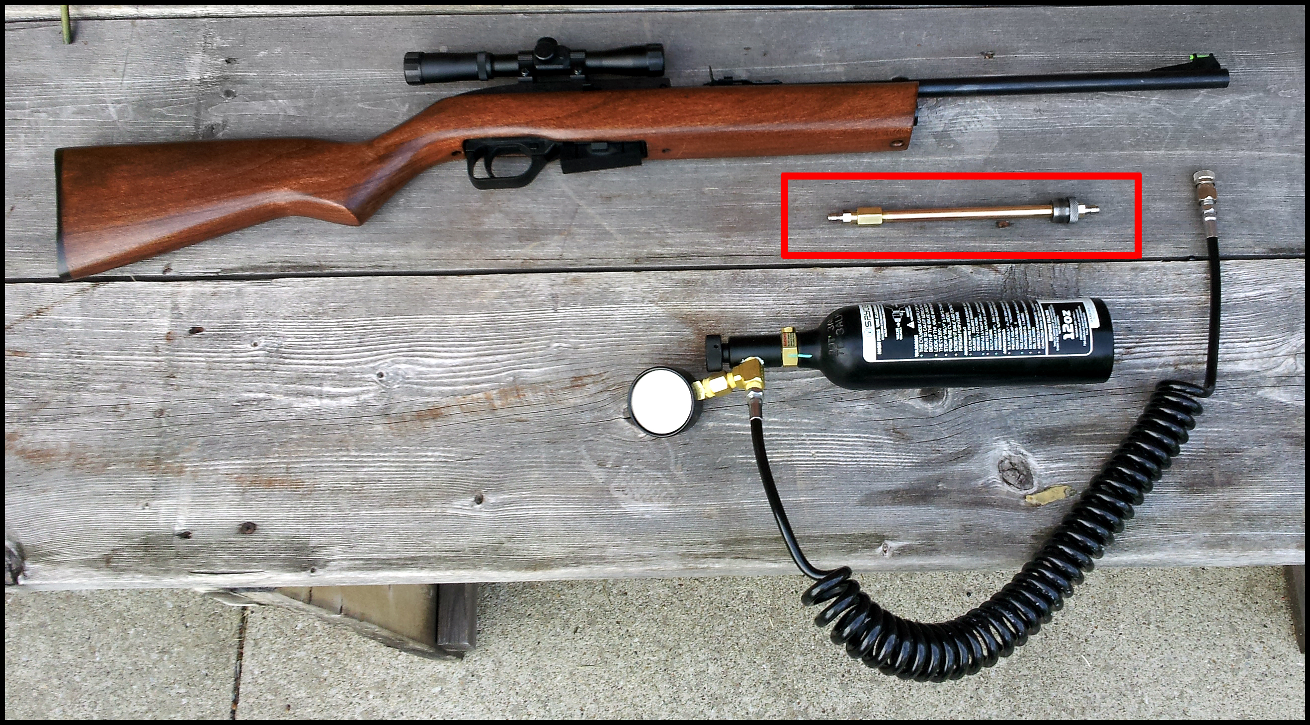 Bulk Fill on Crosman 1077 - How to Strap Down Bottle? - Airguns & Guns Forum